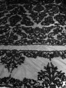 Black Beaded Sequins Bridal Lace Corded Fabric 130cm By the Yard