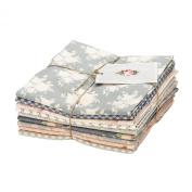 Tilda Summer Fair Floral Cotton Grey Pink Green Blue Cream Fabric 9 Fat Quarter Bundle