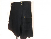 BLACK DRILL COTTON FABRIC KILT, GREAT QUALITY, SIZE W34 X 23 LENGTH, NEW LOW PRICE ALL SIZES AVAILABLE