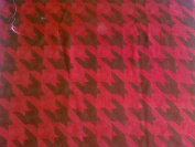 Crewel Fabric Hound's Tooth Red