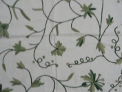 Crewel Fabric Butterflies on vines Green on White Cotton Duck