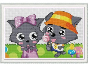 Happy Forever Cross Stitch, Cartoon, the grey Wolf and red Wolf