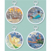MCG Textiles Tinker Bell and Peter Pan Mini Vignette Counted Cross Stitch Kit, Set of 4