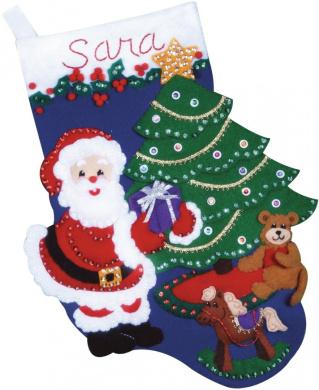 Santa's Gift Stocking Felt Applique Kit