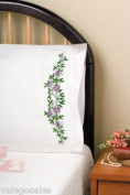 Tobin Stamped Embroidery kit Pillowcases - Floral Vine