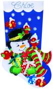 Snowman & Cardinals Stocking Felt Applique Kit-46cm Long