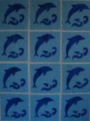 12 Applique Scrap Dolphin Quilt Blocks 17cm Squares