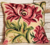 Collection D'art Rose Sauvage A Gauche Pillow Cross Stitch Kit 15 3/4'X15 3/4'