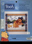 Leisure Arts Counted Cross Stitch Kit - Walt Disney's Winnie the Pooh - Pooh's Little Helper - Features Pooh Planting Seeds in a Garden While Chicks Follow Behind Him Eating the Seeds 113235