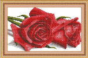 Cross stitch embroidery kit rose two wheels NO. 21529J