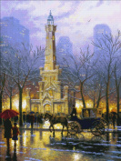 Candamar Designs Chicago Winter at Water Tower by Thomas Kinkade No.51653 Counted Cross Stitch Kit, 41cm by 30cm