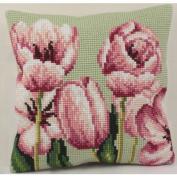 Collection D'art Tulipe A Gauche Pillow Cross Stitch Kit 15 3/4'X15 3/4'