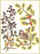 Thea Gouverneur Holly Berry Bird Cross Stitch Kit 911