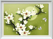 White flower cross stitch embroidery kit 3D stereoscopic moonlit night
