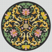 Art Needlepoint Yellow Floral Design Coaster or Ornament Kit