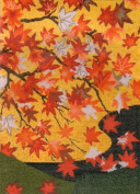 Ukiyo-e Landscape Cross Stitch Kit 3 - Red Maple Leaves in Kyoto