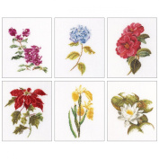 Floral Studies 7 On Linen Counted Cross Stitch Kit-15cm - 1.9cm x 20cm 36 Count Set Of 6