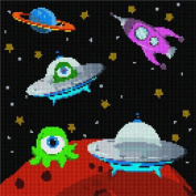 Aliens in Outer Space Needlepoint Canvas