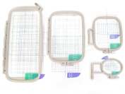 4-Piece Embroidery Hoop Set - Replaces SA442 SA443 SA444 SA445 - Hoops for Brother Machines PE-770 700 700II 750D 780D Innov-is 1000 1200 1250D - Babylock Ellure Ellure Plus Emore - Four Piece Replacement Set