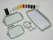 Embroidery Machine Hoop Starter Bundle SET w/ Placement Grids for Brother PE-700, PE700II, PE-750D, PE-770, PE-780D, PE-790 Innovis 1000, Innovis 1200, Innovis 1250D, PC-6500, PC-8200, PC-8500 And Babylock Ellure, Emore and Esante from THREADNANNY