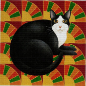 Art Needlepoint Black and White Cat Needlepoint Canvas by Stephanie Stouffer