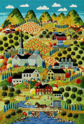 Art Needlepoint Country Town Classic Landscape Needlepoint Canvas by Anthony Kleem