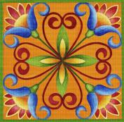 Art Needlepoint Orange and Blue Tile Needlepoint Kit
