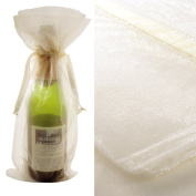 10x Ivory Bottle & Wine Organza Favour Gift Bags 17cm x 38cm
