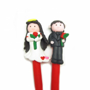 Happy Marriage Bride and Groom Hand Made Polymer Clay Character Pen - Black Ink