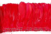 25cm NAGORIE Feather Fringe 15cm - 20cm Dyed RED
