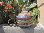 Hand Woven African Covered Sewing Basket From Senegal