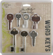 New - Tim Holtz Idea-Ology Word Keys-7/Pkg - Antique Nic by Advantus