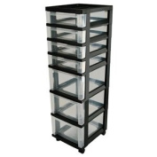 7 Drawer Rolling Cart with Organiser Top MC-343 Top Black