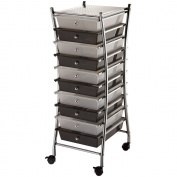 Blue Hills Studio 33cm by 80cm by 39cm by Frame Storage Cart with 10 Drawers, Clear/Smoke