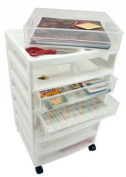 Iris Scrapbook Chest with Organiser Top - Six Drawers - 15 22/25 x 36cm x 70cm - White