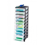 IRIS 10-Drawer Rolling Cart with Organiser Top Black, MC-3100-TOP