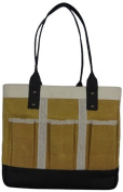 LadyBagsSF Urban Garden Tote Bag, Yellow, White and Black