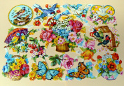 German scrap die cuts 7110 birds and flowers