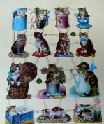 German vintage scrap, die cuts cats 7360