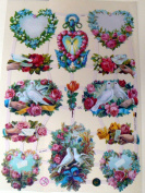 German scrap relief vintage images wedding flowers 7354