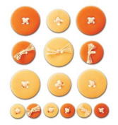 Button Ups Adhesive Button Embellishments ORANGE For Scrapbooking, Card Making & Craft Projects