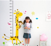 Njseller-cn Naughty Monkey and Yellow Giraffe Wall Decal for Kid's Bedroom Cartoon Animals Height Chart (60cm-180cm) Nursery Wall Sticker Decor Removable Walpaper for Children Playroom