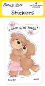 "Suzy's Zoo Stickers 4-pack, ""Love and Hugs!"" 10130"