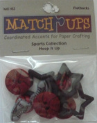 Hoop It Up - Sports Collection - 11 Flatbacks - Coordinated Accents for Paper Crafting
