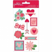 Pebbles Yours Truly Dimensional Icon Valentine Scrapbook Stickers