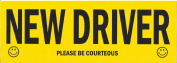 """""""New Driver Please Be Courteous"""" Decal, Large, Black and Yellow"""