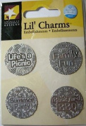 Family Fun Words Silver Lil' Charms for Scrapbooking