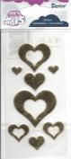 Gold Fabric Puffy Heart Scrapbook Stickers
