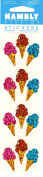 Ice Cream Cones Sparkle Scrapbook Stickers