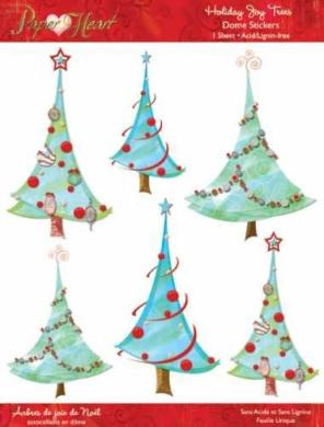 Paper Adventures Dome Epoxy Stickers: Holiday Joy Trees